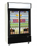 Double Door Upright Cooler Black - Hinged 1000L